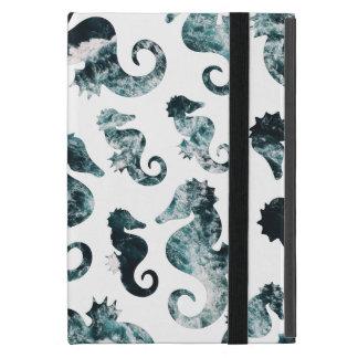 Abstract aqua seahorses pattern cover for iPad mini