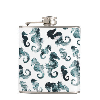 Abstract aqua seahorses pattern hip flask