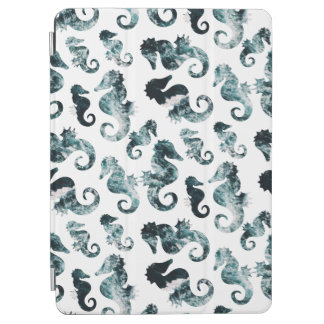 Abstract aqua seahorses pattern iPad air cover