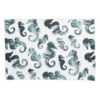 Abstract aqua seahorses pattern pillowcase