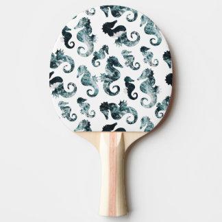 Abstract aqua seahorses pattern ping pong paddle