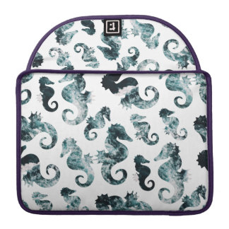 Abstract aqua seahorses pattern sleeve for MacBook pro