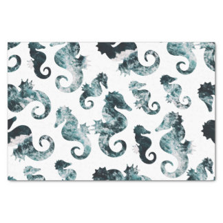 Abstract aqua seahorses pattern tissue paper