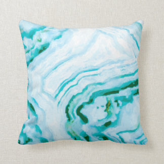 Abstract Aqua Teal Agate Design Painting Cushion