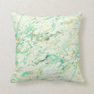 Abstract Aqua Tiffany Mint Gold Marble Luxury Cushion