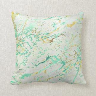 Abstract Aqua Tiffany Mint Gold Marble Luxury Gray Cushion