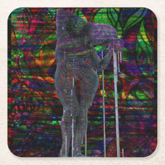 Abstract Aquarius Goddess Square Paper Coaster