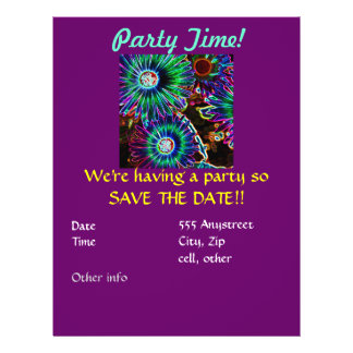 Abstract Arican Daisy party invitation 21.5 Cm X 28 Cm Flyer