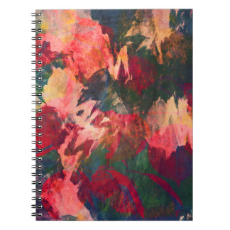 Abstract Art, Autumn Leaves, Red Green Gold Pink Notebook