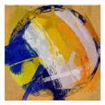 Abstract Art Beach Volleyball Posters