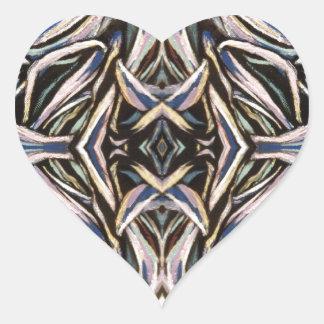 Abstract Art Black Silver Symmetrical Design Heart Sticker