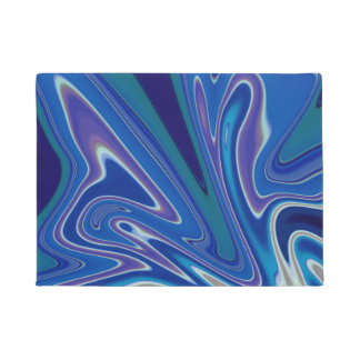 Abstract Art:  Blue and White Splash Doormat
