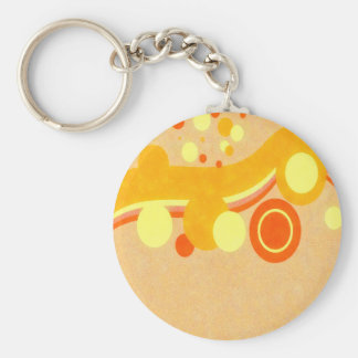 Abstract Art Brown Background Yellow And Orange Ci Key Ring
