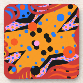 ABSTRACT ART COASTER, GEOMETRIC ABSTRACT LIKE MIRO DRINK COASTER