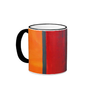Abstract Art Color Fields Orange Red Green Gold Mugs