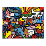 Abstract Art Colour Painting Postcard
