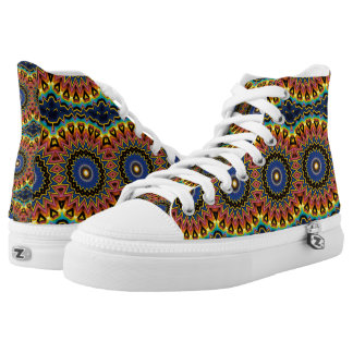 Abstract Art Deco Mandala High Top Shoes