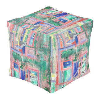 "Abstract Art Designer Pouf Pillow ""Spa Day"""