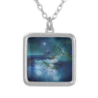 abstract art designs silver plated necklace