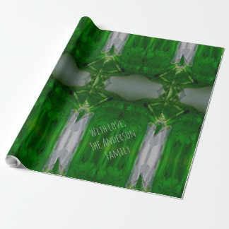 Abstract Art Emerald Green Gray Elegant Wrapping Paper