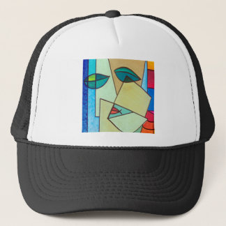abstract art face trucker hat