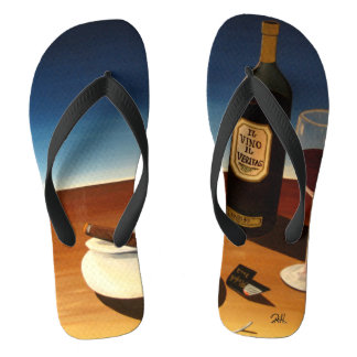 "Abstract Art Flip Flop Sandals ""Wine & Cigars"""