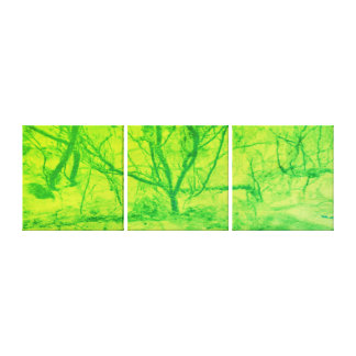 Abstract art Green Lime sunset tree Canvas Print