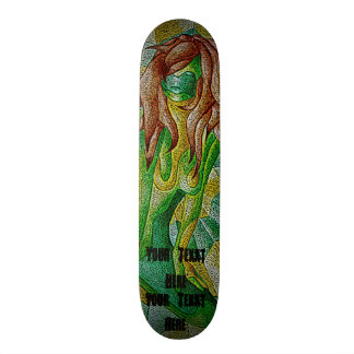 abstract art green posing lady retro  design skate boards