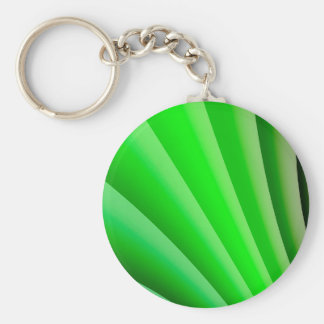 Abstract Art Green Wave Basic Round Button Key Ring