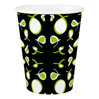 Abstract Art Green White Black Paper Cup