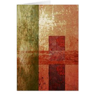Abstract Art Grunge Geometric Red Orange Green Card