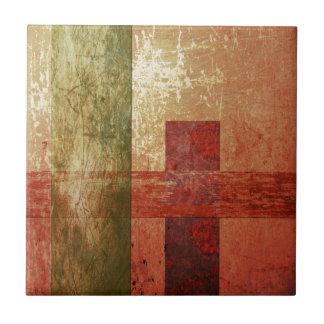 Abstract Art Grunge Geometric Red Orange Green Ceramic Tile