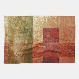 Abstract Art Grunge Geometric Red Orange Green Tea Towel