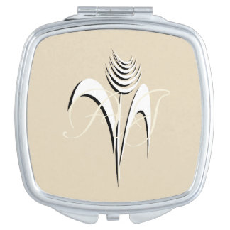 Abstract Art Ink Collage Flower Add Initials Compact Mirror