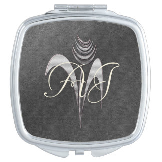 Abstract Art Ink Shiny Flower Add Initials Vanity Mirror