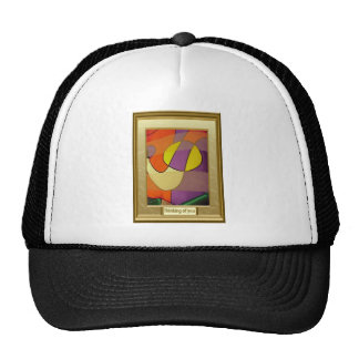 Abstract art, lady in a dress hats