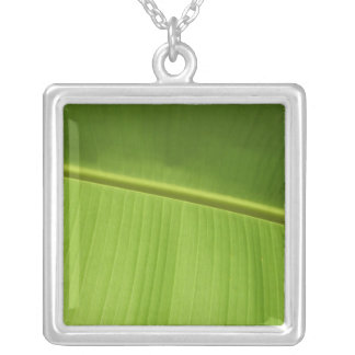 ABSTRACT ART LEAF SQUARE PENDANT NECKLACE