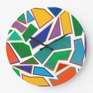 Abstract Art Mosaic Multi Color Pattern Large Clock