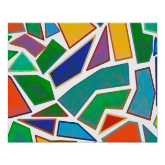 Abstract Art Multi Color Mosaic Design Pattern Poster