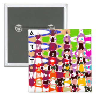 Abstract Art - multicolored triangles & shapes 15 Cm Square Badge