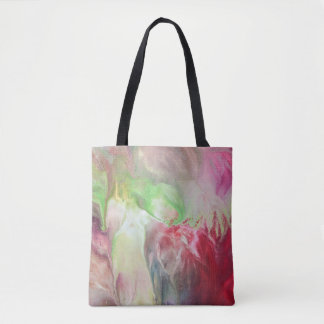 Abstract Art Original Flow Painting Vintage Rose Tote Bag