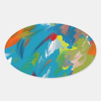 Abstract art oval sticker