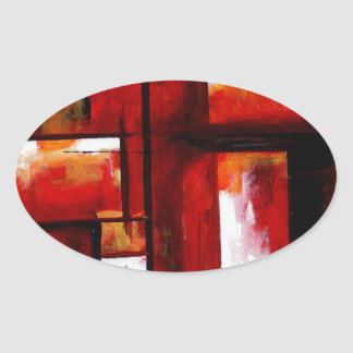 Abstract Art Oval Sticker