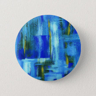Abstract Art Painting Blue Green Gold Brushstrokes 6 Cm Round Badge