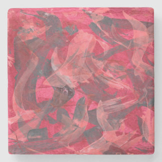 Abstract Art Painting Brushstrokes Red Copper Grey Stone Beverage Coaster