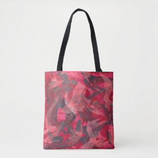 Abstract Art Painting Brushstrokes Red Copper Grey Tote Bag