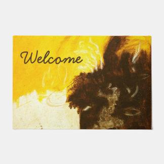 Abstract Art Painting Drips Splatters Yellow Brown Doormat