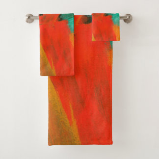 Abstract Art Painting Red Orange Gold Green Bath Towel Set