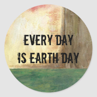 Abstract Art Painting Tree Every Day is Earth Day Round Sticker