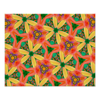 Abstract Art Pattern Green, Peach And Yellow Poster